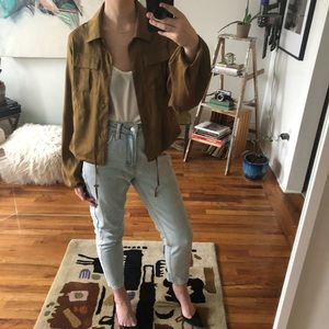 A New Day Silky Brown Utilitarian Jacket Top